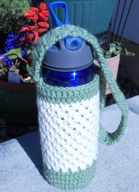 Crochet Water Bottle Holder, green and ivory, waterbottle holder, water bottle pouch on Etsy, $15.00