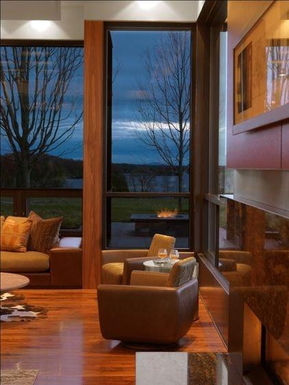 modern living room by Birdseye DesignModern Fireplaces, Modern Living Rooms, Dreams, Big Windows, Colors, Birdseye Design, Leather Chairs, Chairs Design, Bedrooms Wall