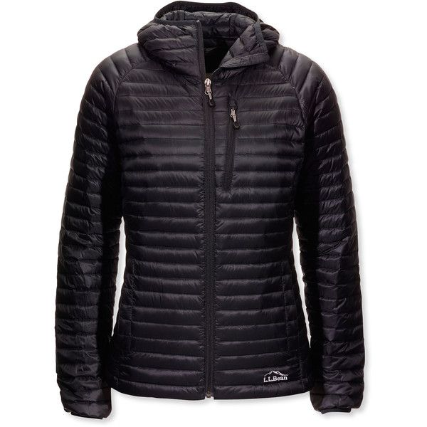L.L.Bean Women's Ultralight 850 Down Sweater Hooded Jacket  Misses... ($209) ❤ liked on Polyvore featuring activewear, activewear jackets, petite sportswear and petite activewear