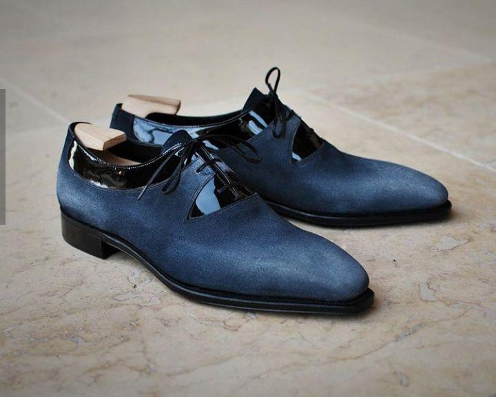 Handmade Navy Blue Black Patent Leather