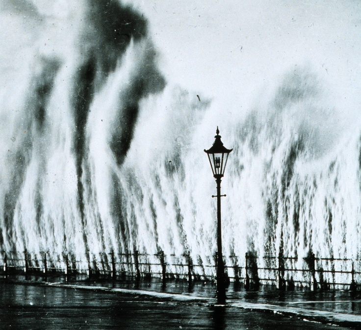 Waves striking the seawall give the appearance of geysers erupting, New England coast, 1938.Photos, England Coast, Waves Strike, Rhode Islands, New England, Geyser Eruption, 1938, Long Islands, Hurricane