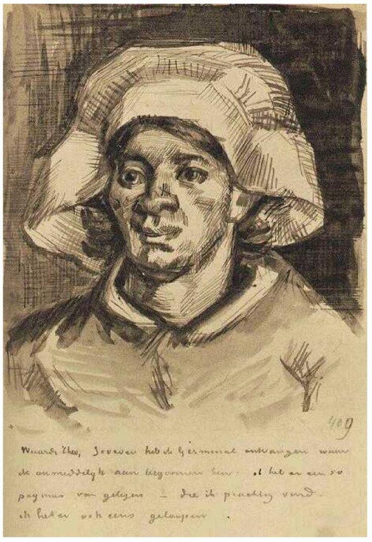 Gordina de Groot, Head  Vincent van Gogh Letter Sketches,  Nuenen: 15-May, 1885 Van Gogh Museum Amsterdam, The Netherlands, Europe F:;409,;JH:;784