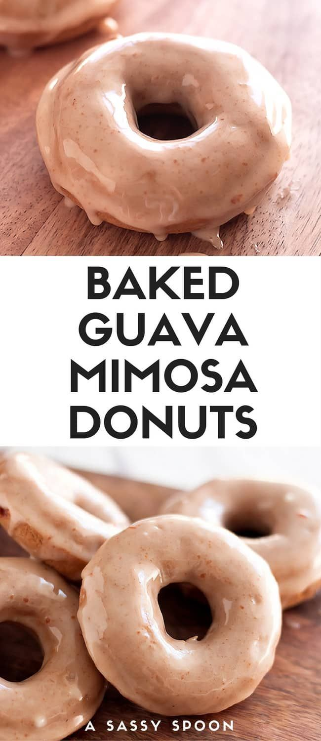 Turn everyone's favorite brunch drink into a baked good. Soft, fluffy, baked guava donuts topped with a champagne and guava marmalade glaze! via /asassyspoon/