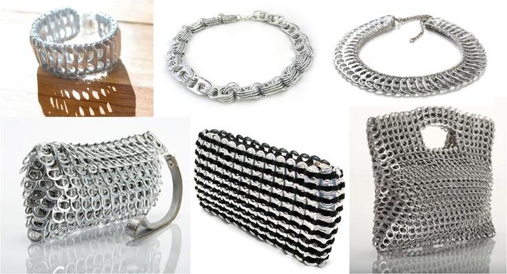 Há 2 dias atrás estava a falar de Eco Fashion e agora estou a apresentar-vos uma colecção feita a partir das chapinhas(não me recordo do nome) que se tiram das latas  As peças são lindas não são, as minhas favoritas são o 3º colar e a ultima mala