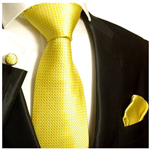 Slim tie - Woven Jacquard silk in solid lemon yellow Notch nBA86WBx85