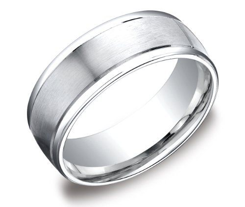 Men's Platinum 8mm Comfort Fit Plain Wedding Band with High Polished Round Edges and Satin Center $1,185.00 (57% OFF)