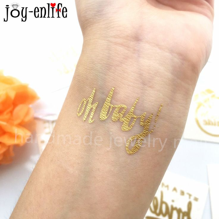 joy-enlife 1pcs gold Oh Baby sign temporary tattoo baby shower favor photo proph Pregnant Women Belly tattoo sticker  Decorative #Affiliate