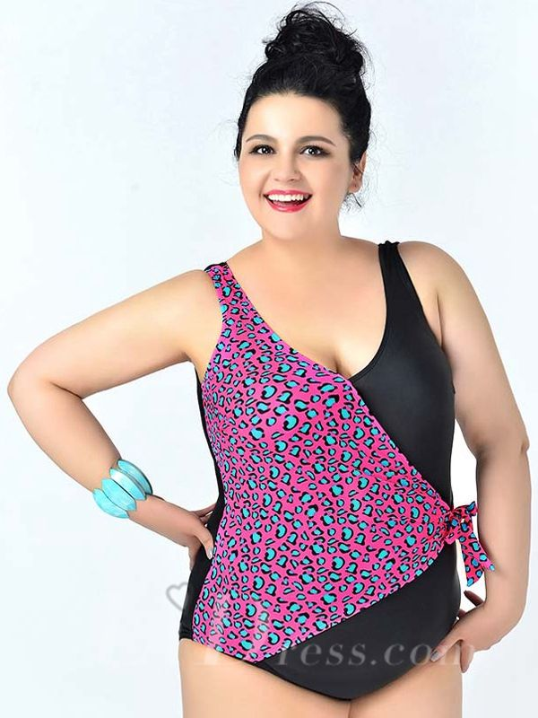 Black And Watermelon Red High Flexibility Colorful Printed Sexy Halter One Piece Plus Size Swimsuit Lidyy1605241078