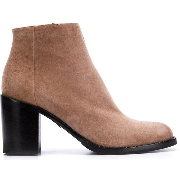 Paul Andrew Ankle Boots (8.780 ARS) ❤ liked on Polyvore featuring shoes, boots, ankle booties, suede ankle bootie, suede ankle booties, bootie boots, nude boots and short boots