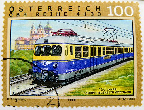 stamp Austria postage 100c train railway stamp Stift Melk Abbey Abbaye Melki apátság timbre Autriche chemin de fer selo sello ferrocarril francobollo Austria postzegel Oostenrijk طوابع النمسا frimærker østrig markica Austrija टिकटों ऑस्ट्रिया francobollo