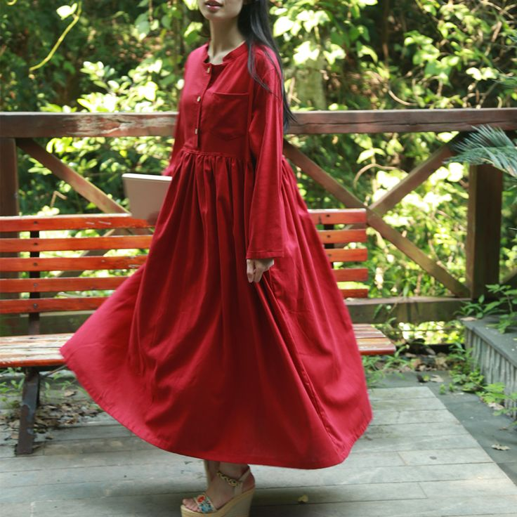 ==> [Free Shipping] Buy Best Women Long Sleeve Maxi Dress Cotton Linen Long Dresses Ethnic Robe Chinese Style Vestidos 2016 Autumn Korean Dress Online with LOWEST Price | 32678352869