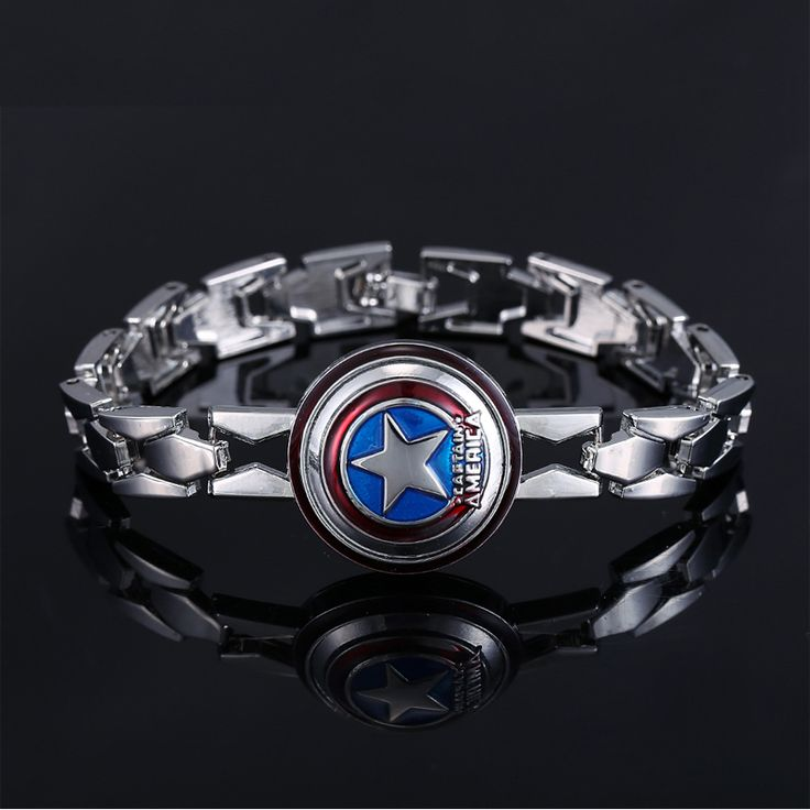 Hot Movie The Avengers Silver Alloy Bracelet Captain America Shield Metal Bangle cosplay jewelry  dropshipping #Affiliate