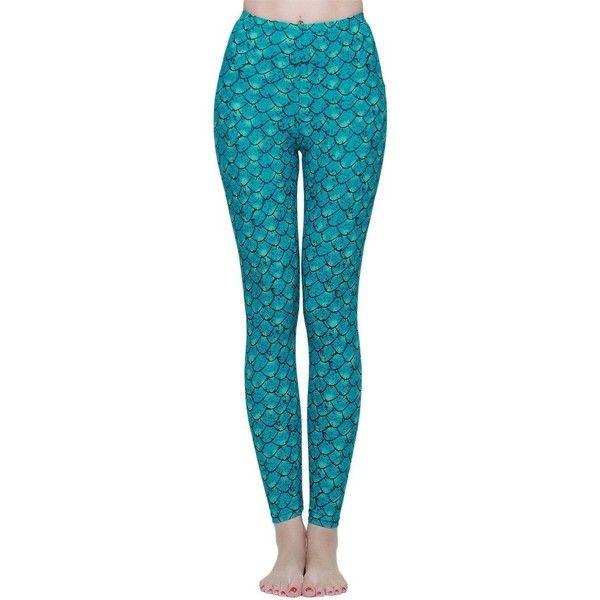a7e15c3905e323 Lotsyle Fish Scale Mermaid Swimming Pants Swim Tights Swim Leggings ($20) ❤  liked on Polyvore featuring pants, leggings, swimming leggings, s…