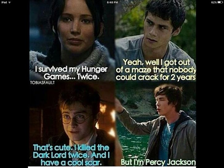 I know wat all 4 are about but iv only wached harry potter <--- Percy is my fav (hp is also amazing though) but i feel like Percy is truly underrated, i mean c'mon he defeted the king of the titans, kronos, mother of gigant, gaia and waaaaay more other things than just this