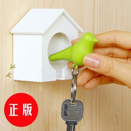 bird in a house keychain