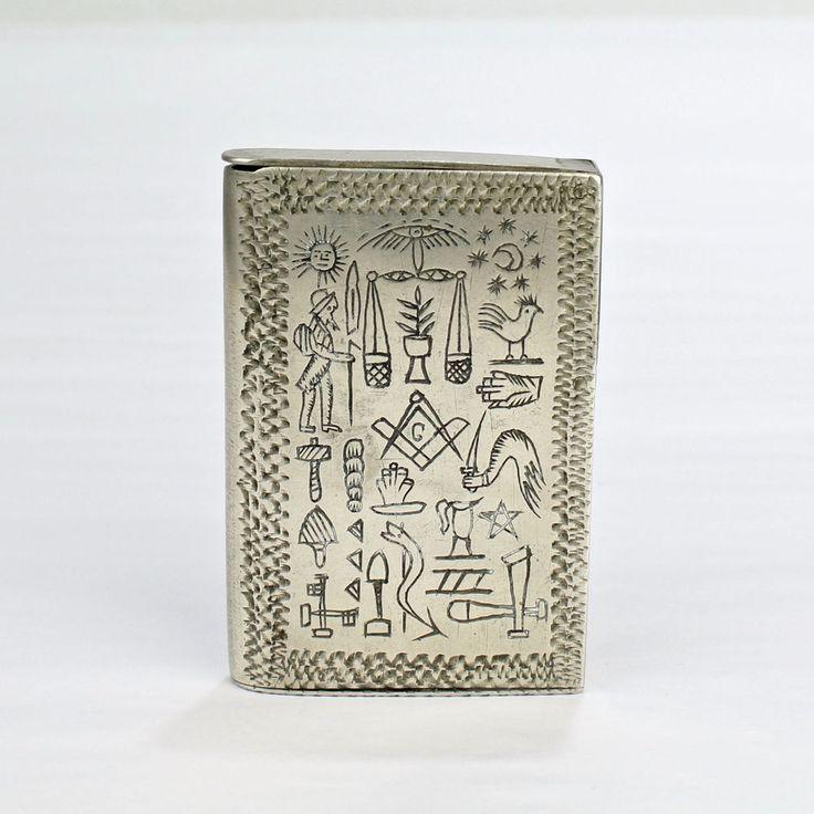 Vintage Hand Made Silver Matchsafe w Masonic Symbols - Folk Art Vesta Signed SL