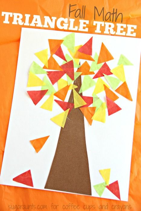 Kids will love to make this colorful Fall Tree Math Craft while working on fine motor skills and math concepts like shape recognition with a triangle tree.