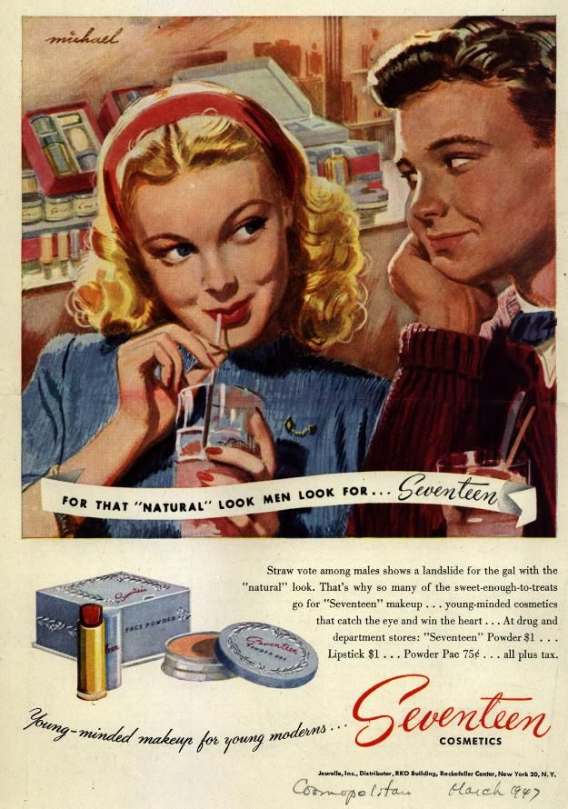 Advertisement for Seventeen brand cosmetics, 'Cosmopolitan' magazine, March 1947.