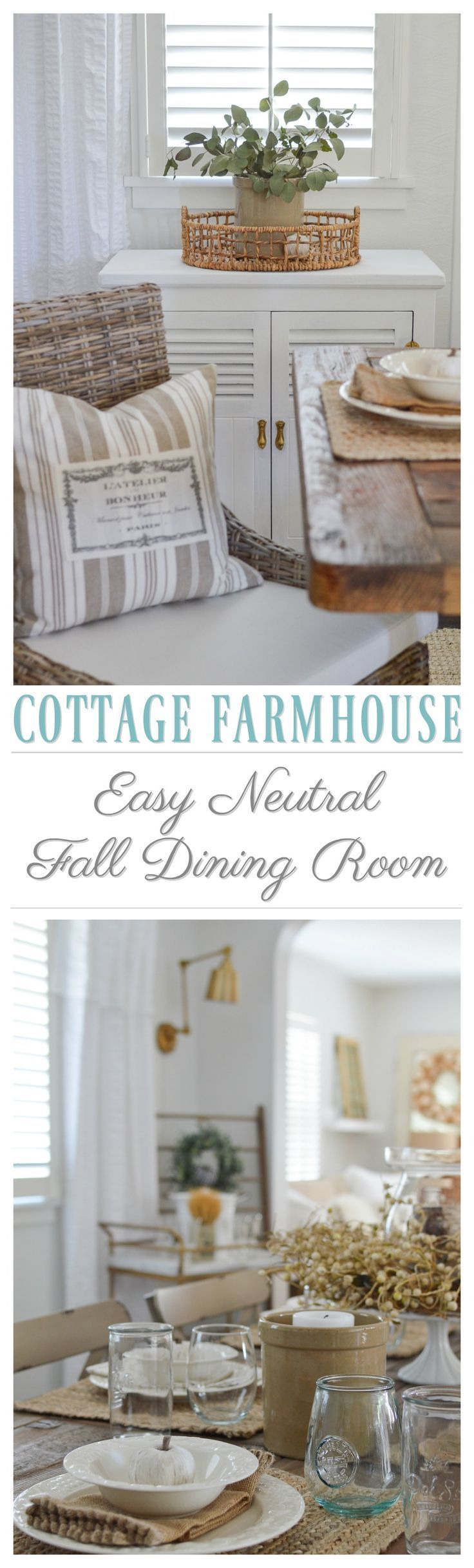 Diy room decor tutorials - Cottage Farmhouse Decorating Ideas For A Simple Autumn Dining Room With Easy Neutral Decor And Fall