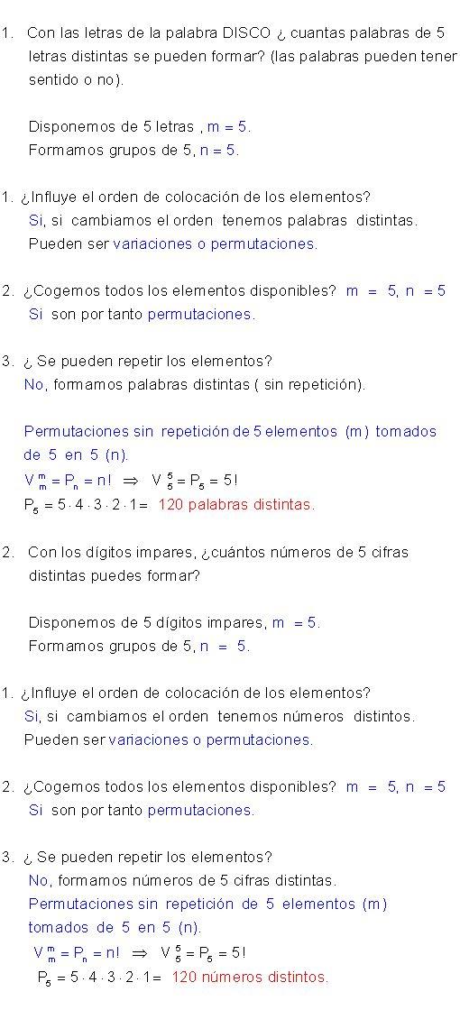 Ejemplos permutaciones con repetición.
