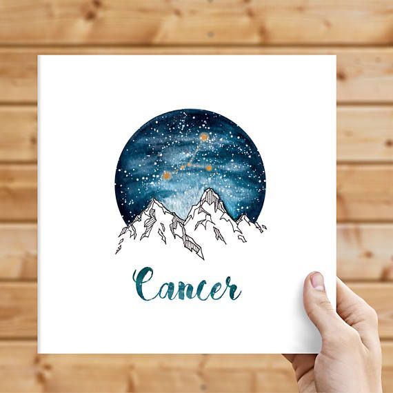 Cancer Zodiac Watercolour Painting