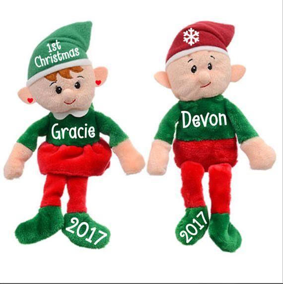 Personalized Elf On The Shelf Sitting Plush Stuffed Animal