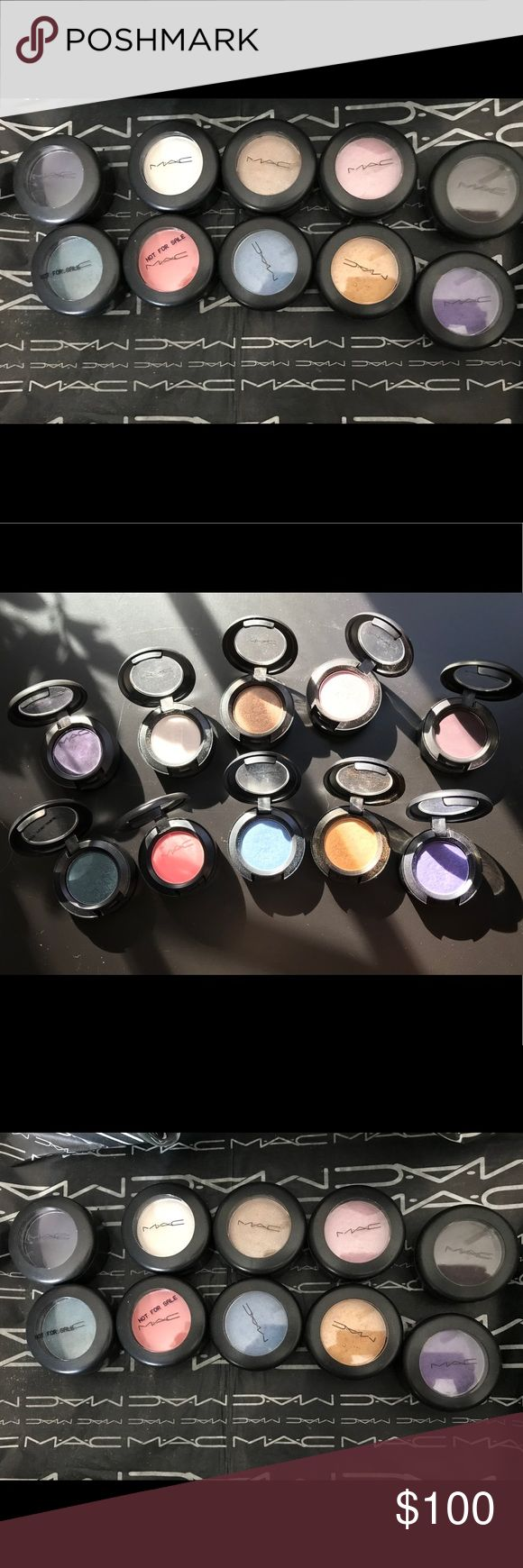 AUTHENTIC MAC COSMETICS EYESHADOW LOT (10). 😍 AUTHENTIC MAC COSMETICS LOT OF 10 SINGLE EYESHADOWS FROM MY COLLECTION. SEE NAMES ON 2nd PHOTO. THESE ARE FROM DIFFERENT COLLECTION. IF THE LID SAYS NOT FOR RESALE ITS BECAUSE THE COMPANY GAVE IT AS GRATIS TO THEIR EMPLOYEE. THESE HAVE BEEN SWATCHED 1X WITH A CLEAN SANITIZED MAC MAKE UP BRUSH. NO LOW BALL OFFERS. I THANK YOU FOR YOUR CONSIDERATION. FEEL FREE TO ASK ME ANY QUESTIONS. (IM NOT SEPARATING FOR PRIVATE SALES) MAC Cosmetics Makeup…