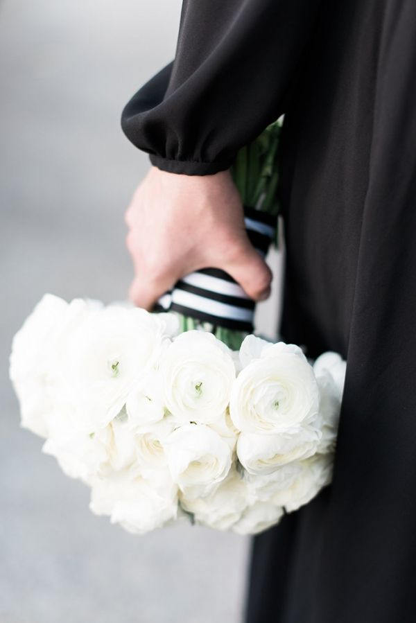 All White Ranunculus Bouquet with Striped Ribbon | Cathy Durig Photography | http://heyweddinglady.com/modern-glam-classic-engagement-photos/