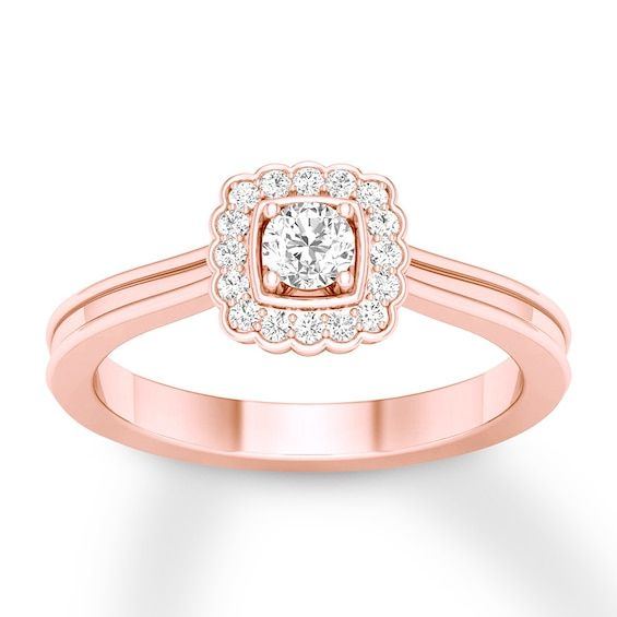 Diamond Promise Ring 1 4 Carat Tw Round 10k Rose Gold Diamond Promise Rings Promise Rings Gold Bands