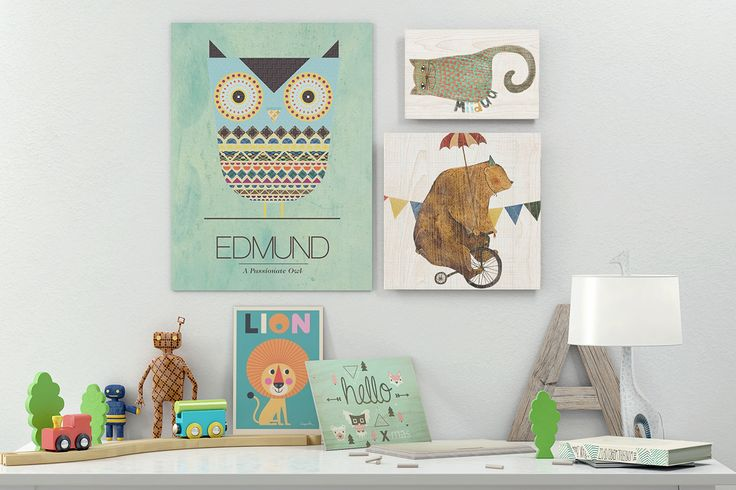 Playful prints on wood.