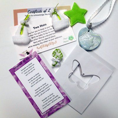 Miscarriage blankets sized to fit gestational ages of lost babies. Miscarriage remembrance kits, jewelry, and more,