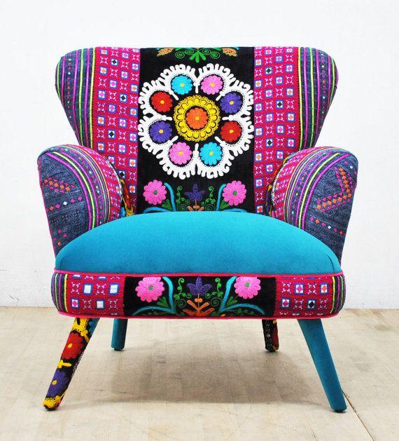 Sill n hecho a mano estilo retro hab a tapizado con suzani for Muebles de tailandia