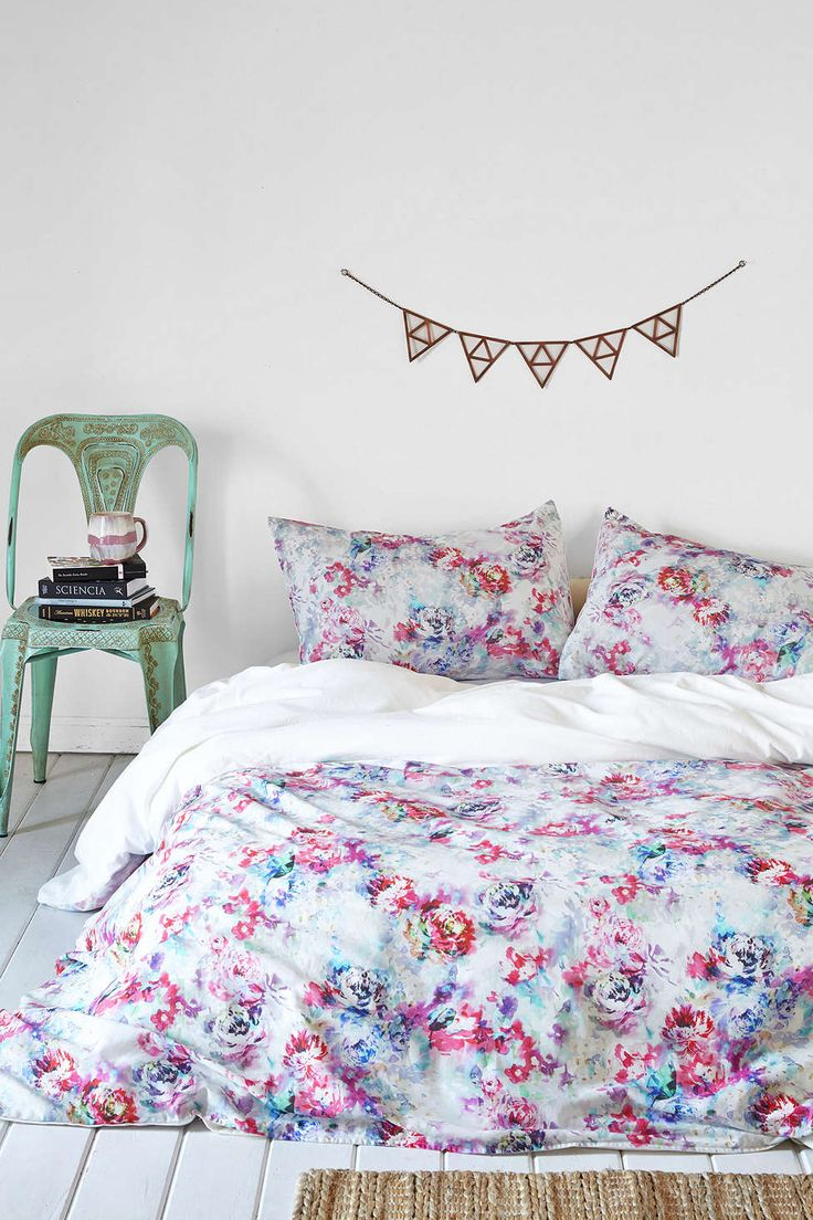 Plum and green bedding - Plum Bow Aria Floral Duvet Cover