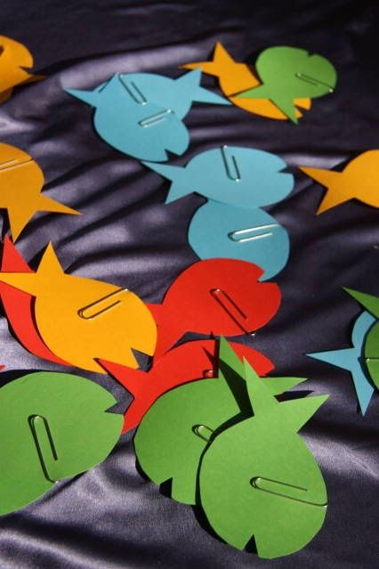 Trunk or treat game idea - could put names of candy they get on the back.  Whichever fish they pick, that's what kind of candy they get.