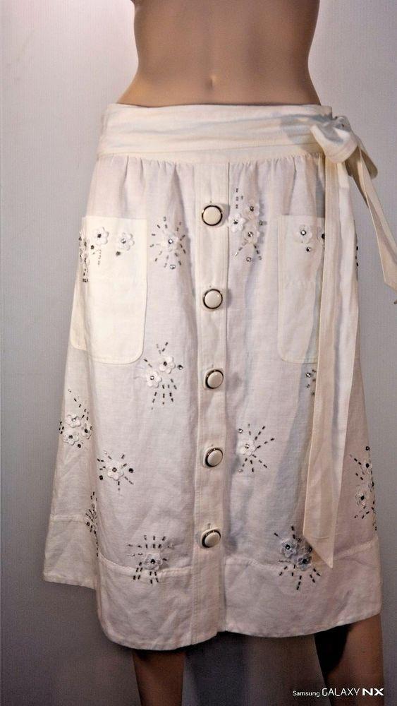 Dolce & Gabbana Linen White Skirt Midi #DolceGabbana #MidiSkirt