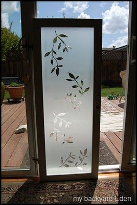faux frosted glass cabinet door at Remodelaholic DIY tutorial --- for Lem