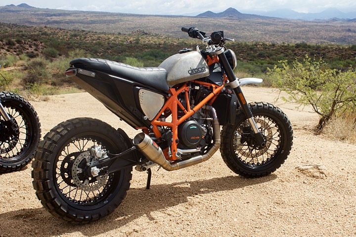 "Bike builder Max Droog gave two KTM 690 Duke street bikes a ""scrambler"" conversion, and they look mean."