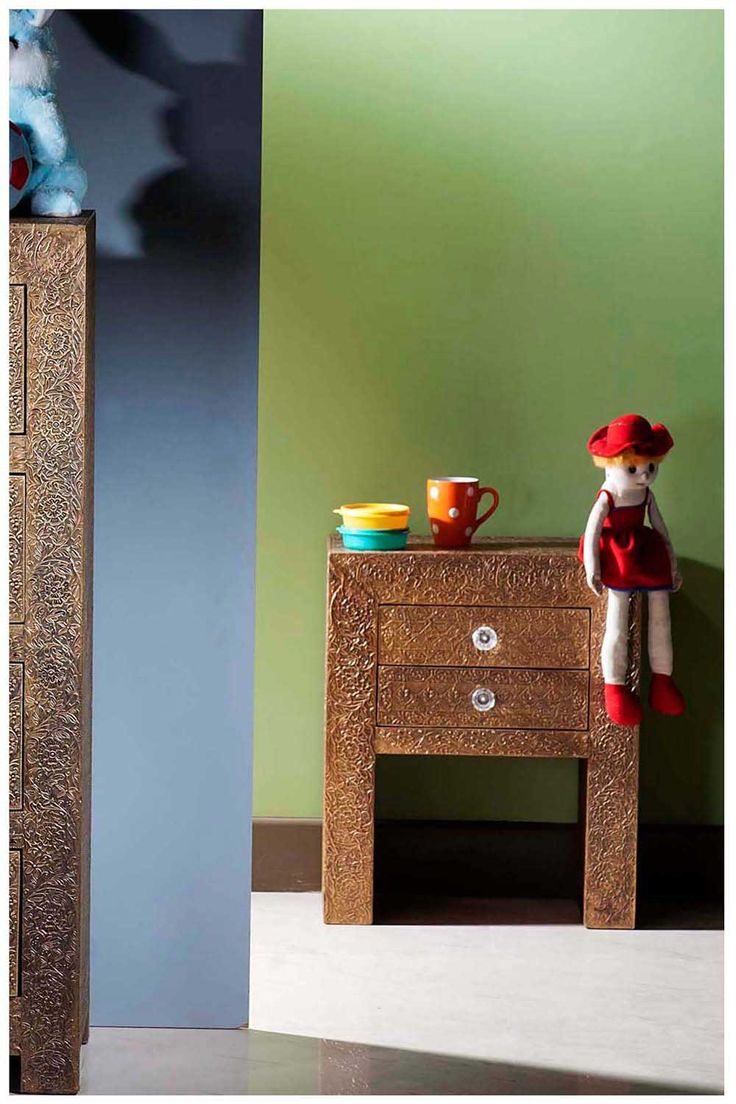 Buy Online Embossed Brass Metal Bedside Table| Brass Metal Bedside Cabinet  | Metal Bedside | Brass Embossed Metal Furniture | Brass Metal Furniture ...