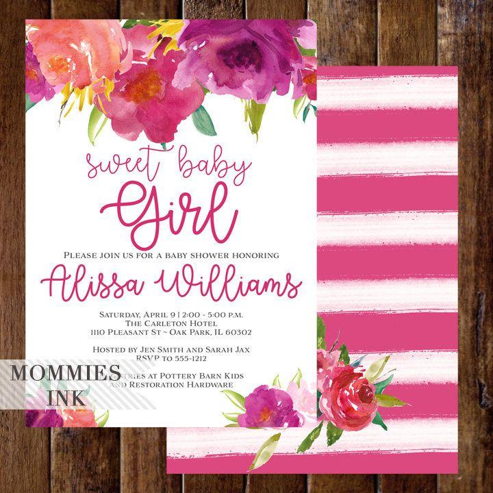Sweet Baby Girl Invitation, Baby Shower Invitation, Pink and White Stripe Baby Shower Invitation, Rose Invitation, Striped Floral Invite by MommiesInk on Etsy https://www.etsy.com/listing/537794817/sweet-baby-girl-invitation-baby-shower