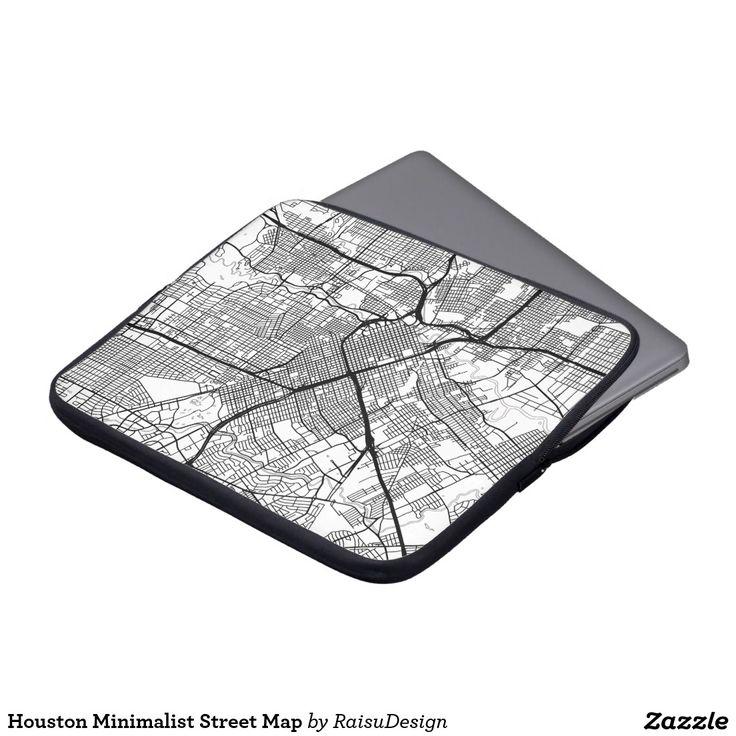 Houston Minimalist Street Map Laptop Sleeves