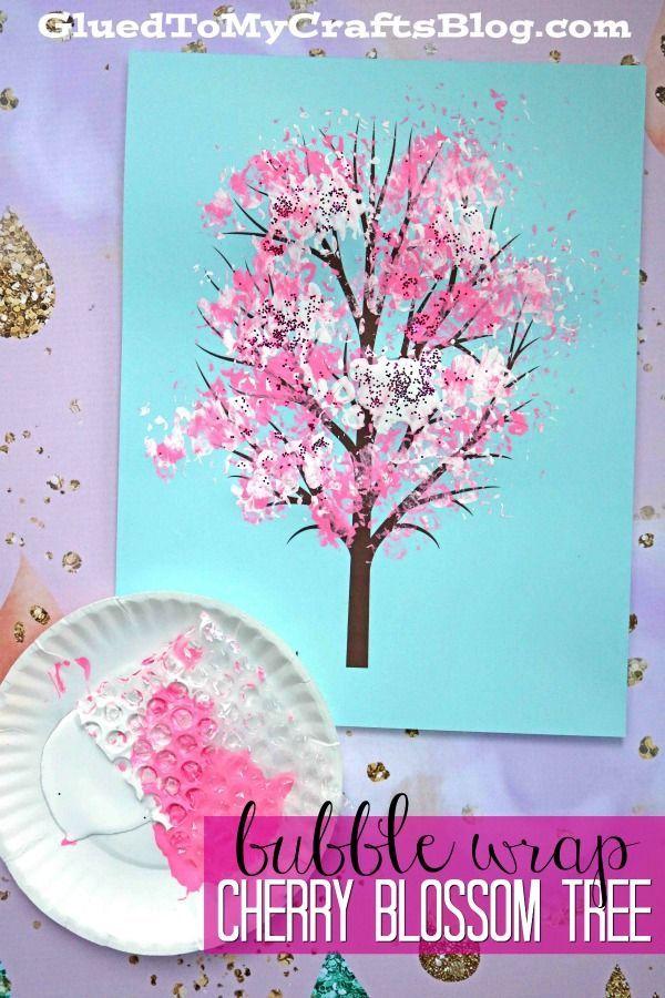 Bubble Wrap Print Cherry Blossom Tree Kid Craft Idea For Spring Cherry Blossom Painting Cherry Blossom Art Spring Flower Crafts