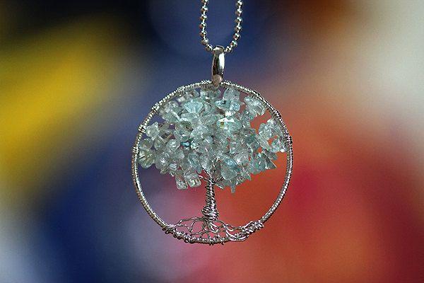 79 Stones Genuine Aquamarine Round Tree Pendant by HandmadeCameo