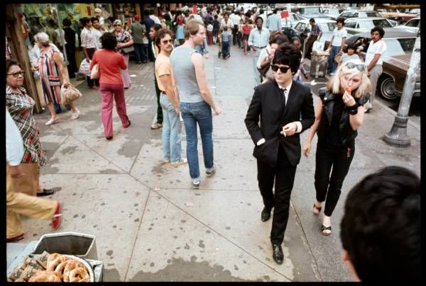 Blondie members Clem Burke and Debbie Harry turn heads on Manhattan's 14th Street in the 1970's Pic. By Chris Stein
