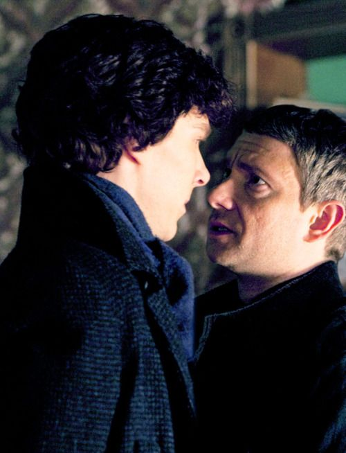"""To quote Marcus Brigstocke at the Crime Thriller Awards 2010 """"Modern classics that not only lead us through the twisted strands of criminal ingenuity unraveled, but also explore the seething sexual tension between the leads: Benedict Cumberbatch and Martin Freeman. Will they ever get it on?! Just kiss him!"""""""