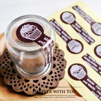 2014 FREE SHIPPING coffee handmade paper sticker label for canfy sweet food packaging sticker 240pc/lot  3*8cm