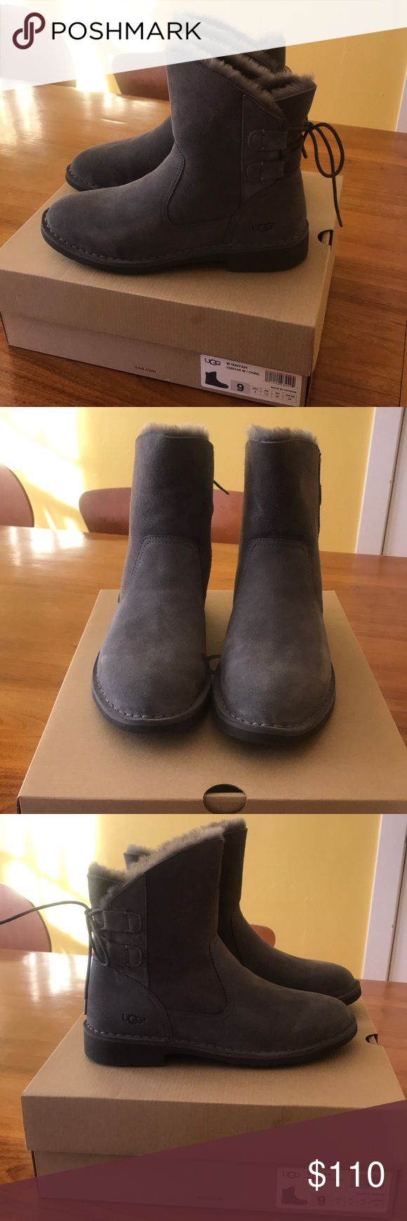 """UGG boots. Brand new, grey, """"Naiyah"""" style booties Brand new, never worn, grey """"Naiyah"""" UGG boots. Perfect for keeping your feet cozy and stylish during the winter months. Cute lace-up detail in the back. Ships in original UGG box. UGG Shoes Winter & Rain Boots"""