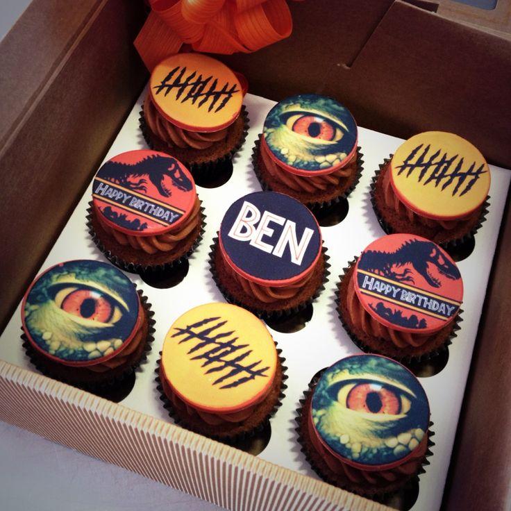 Jurassic park dinosaur cupcakes by www.birdbakes.co.uk