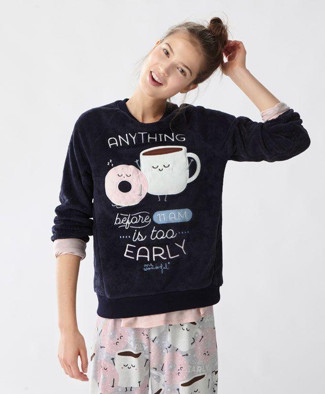 Mr. Wonderful bluza z zestawem śniadaniowym - Zobacz Wszystko - Modowe trendy AW 2016 dla kobiet na stronie Oysho: bielizna, odzież sportowa, motywy etniczne i cygańskie, buty, dodatki, akcesoria i stroje kąpielowe.