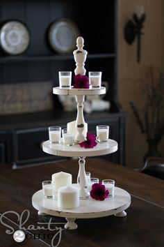 Mother's Day Gift Idea: Give mom a shanty chic tower to be used as a rustic centerpiece or cupcake tower. Visit the site to learn more on how you can make this easy gift yourself! #mothersday