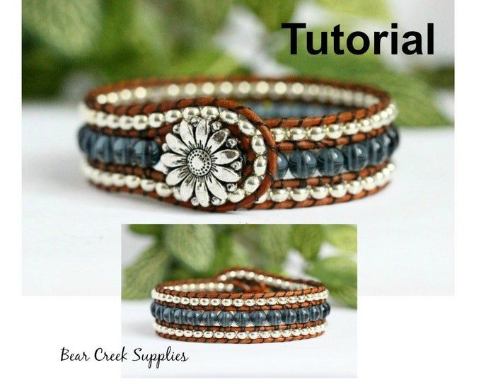 Cuff Bracelet Glass Bead and Leather Cuff Beaded Cuff Bracelet Beaded Leather Cuff Bracelet Peyote Beaded Bracelet